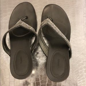 Style & Co Silver Bling Wedge Sandals Size 8 1/2